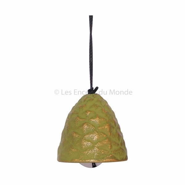 Windspiel Glocke aus Gusseisen grün-gold