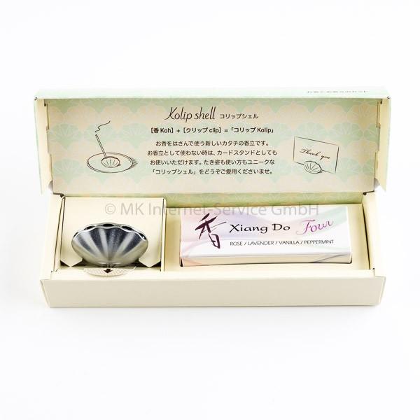 Geschenkset Japanische Räucherstäbchen Xiang Do Four und Halter Kolip Shell, mattsilber