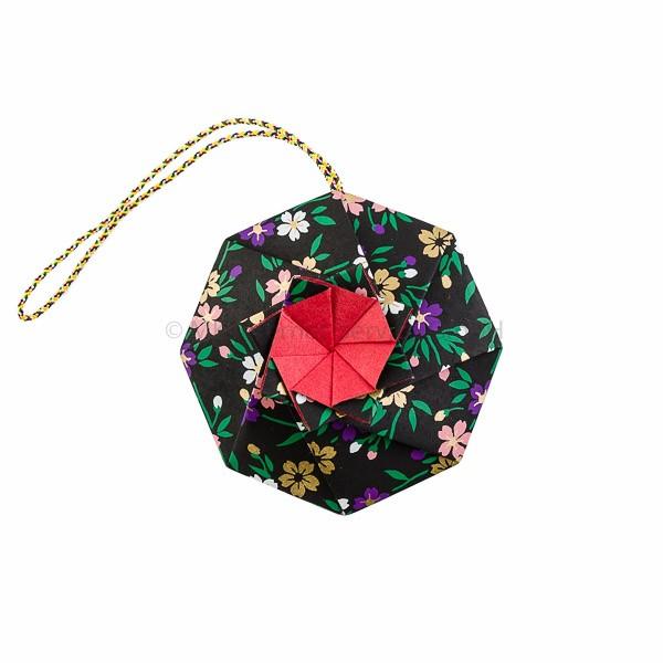 Japanisches Origami Blumen-Sachet Hana-kuruma, schwarz - Shoyeido