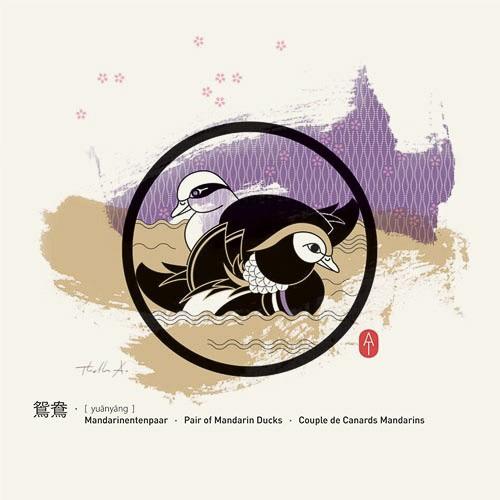 Feng Shui Kunstdruckkarte Mandarinentenpaar
