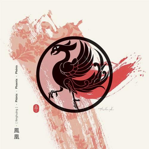 Feng Shui Kunstdruckkarte Phönix