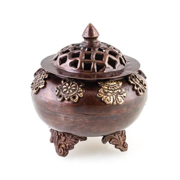 Räuchergefäß aus Messing mit acht buddhistischen Glückssymbolen