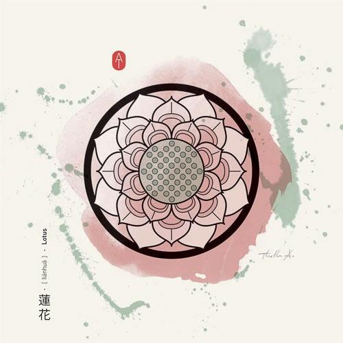 Feng Shui Kunstdruckkarte Lotus
